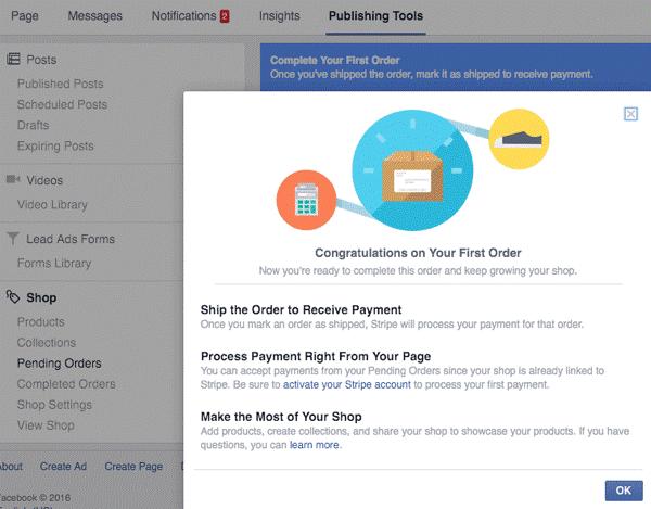 如何在 Facebook 页面上设置商店部分
